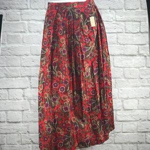 VTG Leslie Fay Floral Long Pleated Skirt NWT sz 18